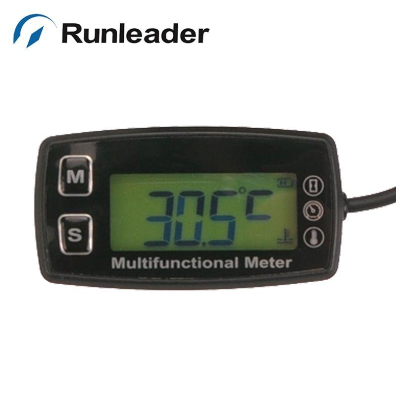 Digital LCD RL-TS002 PT100 -20- +300 Celsius tach hour meter temp meter for motorcycle outboard paramotor MARINE ATV pit bik