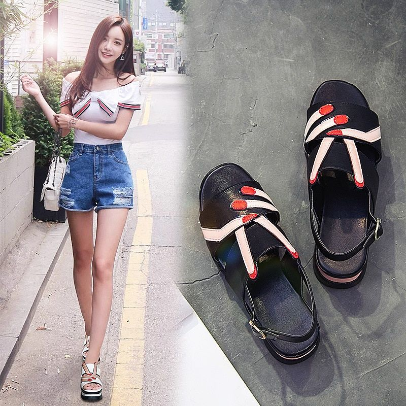 Woman On New 2018 Summer Fish Loose Tongued Cake Base Sandals Lovely Scissors Hand Non-slip Fashion Women's Shoes NSS801-808ALEX