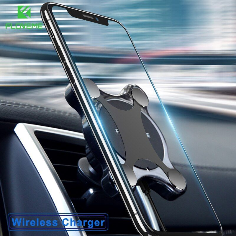 FLOVEME Car Mount Qi Wireless Charger For iPhone X 8 Plus <font><b>Flash</b></font> Charge Wireless Charging Pad Car Holder Stand For Samsung S9 S8