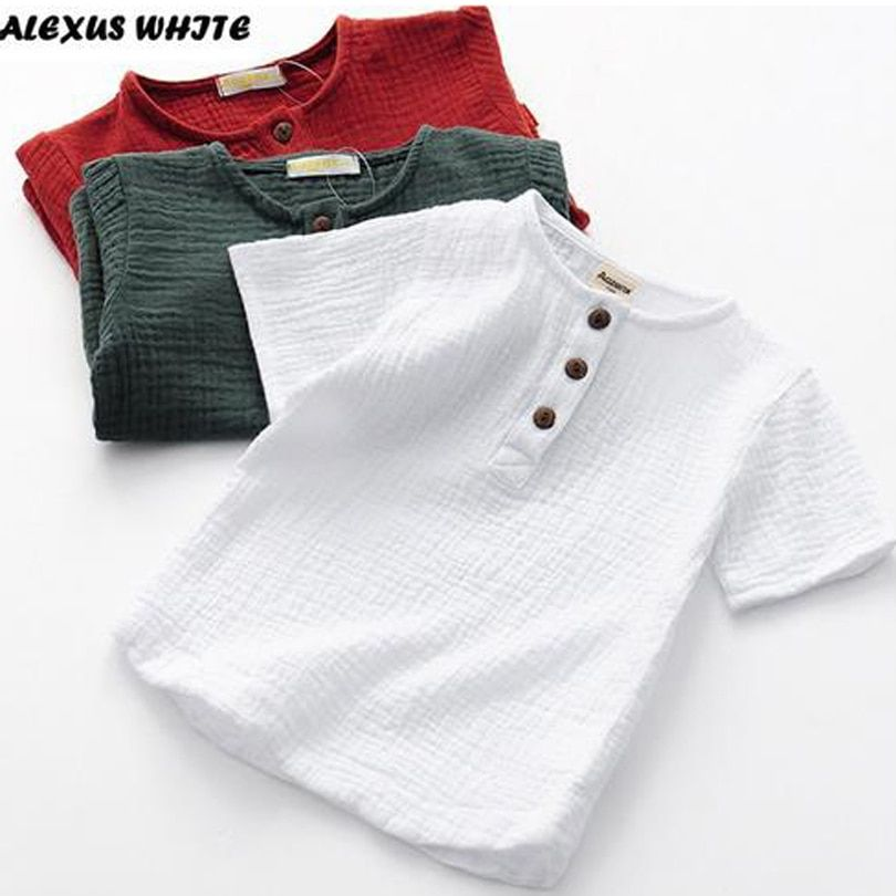 Linen 2019 Cotton Baby Boy Girl Summer T Shirts New Toddler Comfortable Tops Tee Children Clothing Kids Button 90-140CM Height