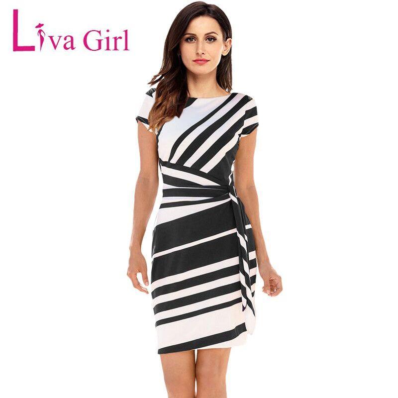 Liva Girl 2019 printemps décontracté robe crayon femmes fête rouge/noir blanc rayé robes ceinturé arc élégant bureau travail Vestidos XL