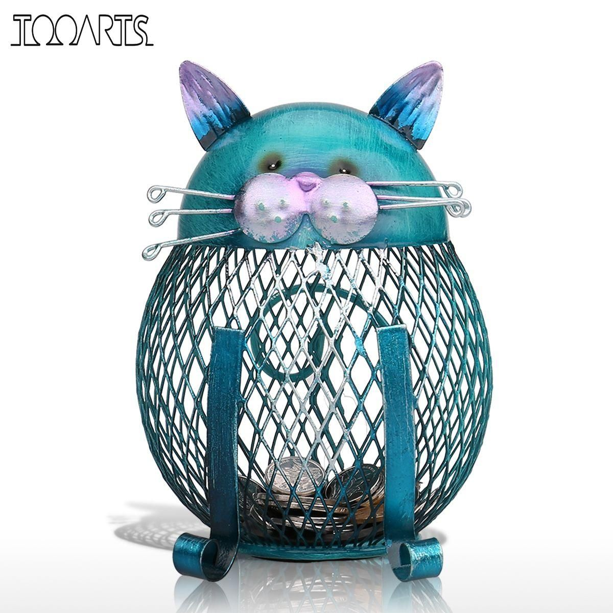 Tooarts Blue Cat Bank Shaped Piggy Bank Metal Coin Bank Money Box Figurines Saving Money Home Decor New Year Gift For Kids