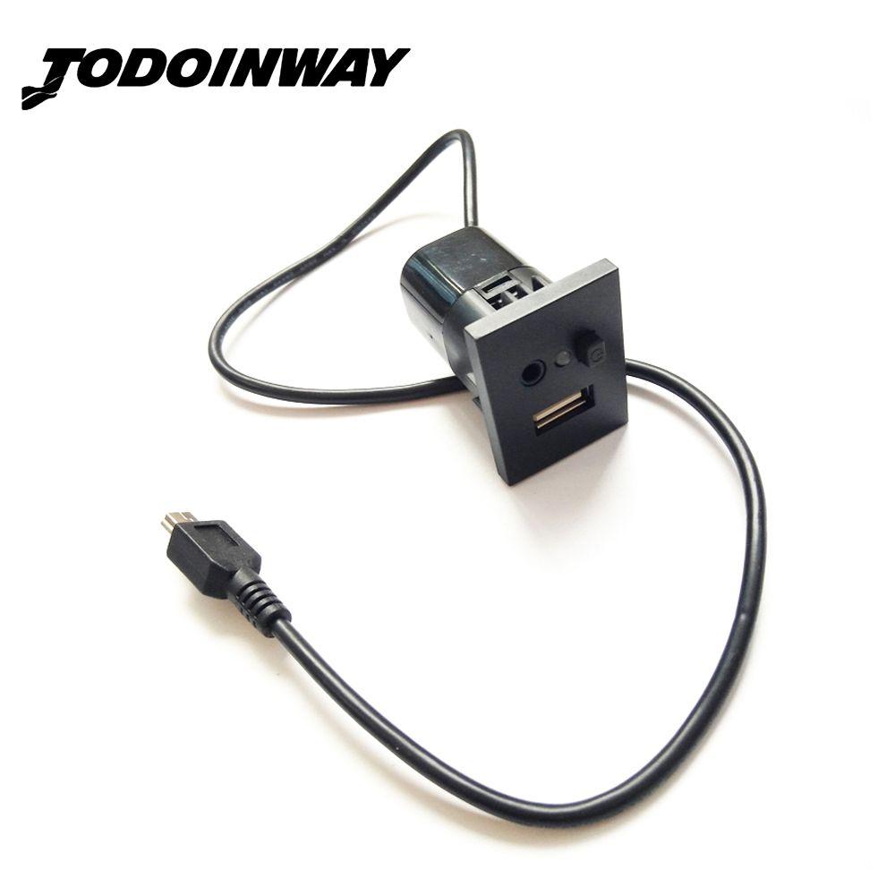 Pour Ford Focus MK2 USB/AUX Fente interfaces Prise Bouton + Interface De Câble Avec Câble Mini USB Adaptateur Accessoires noir Argent