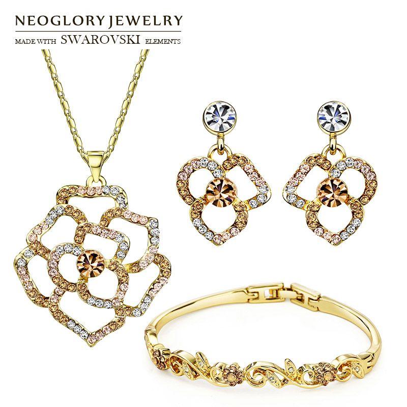 Neoglory MADE WITH SWAROVSKI ELEMENTS Strass Bijoux Ensemble Fleur Style Collier et Boucle D'oreille et Bracelet Pour Dame D'été Classique