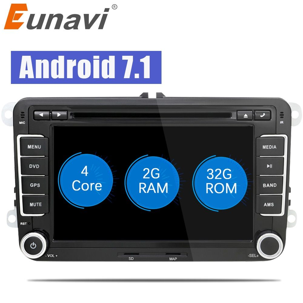 Eunavi 7 inch 2 Din Android 7.1 car gps radio <font><b>stereo</b></font> car dvd player for VW GOLF 6 Polo Bora JETTA B6 PASSAT Tiguan SKODA OCTAVIA