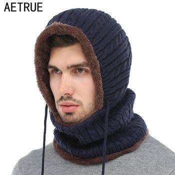 AETRUE зимняя шапочка вязаная шапка Для мужчин шарф Skullies вязаные шапочки зимние, шапки для Для женщин Для мужчин шапки капор маска брендовые ке...