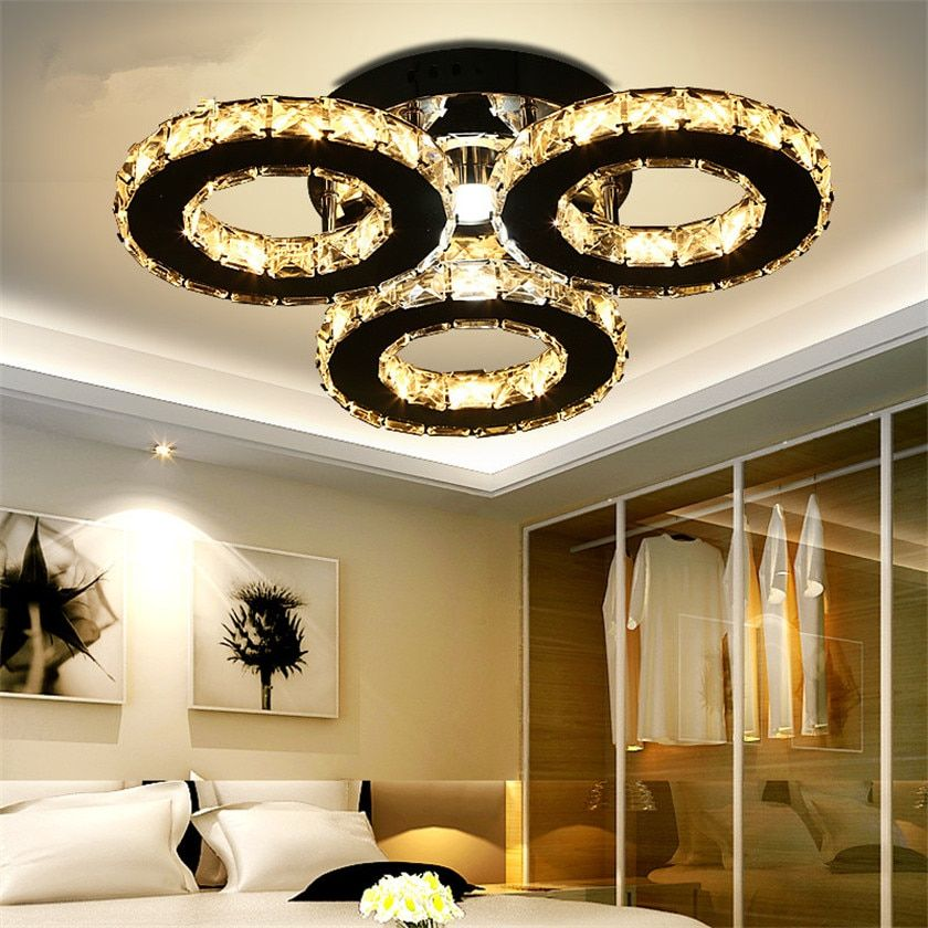Moder Led Chandelier 3/5 Rings Crystal Ceiling Chandeliers Light Fixture for Bedroom Living Room Lustres Home Deco Luminaria
