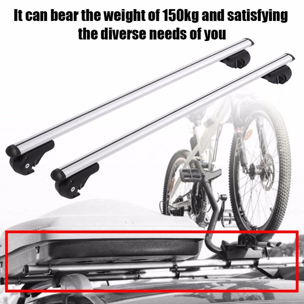 120cm Aluminum Alloy Universal Silver Car Roof Rack Cross Bar Lockable Rail Luggage Carrier