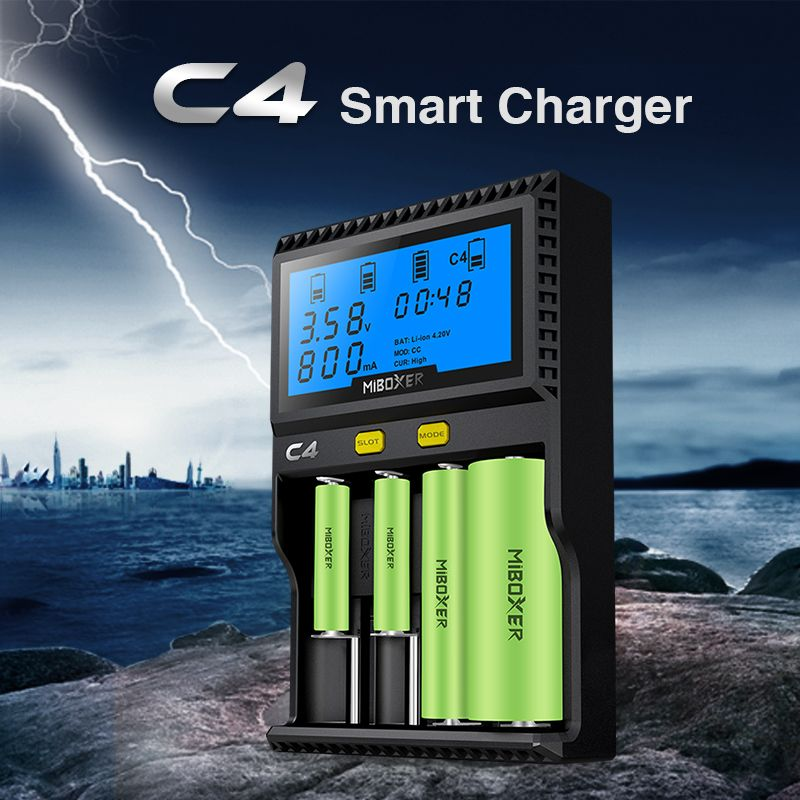 Original Miboxer C4 VC4 LCD Smart Battery Charger for Li-ion/IMR/INR/ICR/<font><b>LiFePO4</b></font> 18650 14500 26650 AA 3.7 1.2V 1.5V Batteries D4