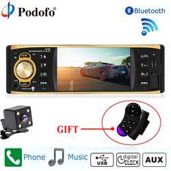 Podofo autoradio De Voiture Radio 1Din voiture Stéréo Lecteur Bluetooth Téléphone AUX-IN MP3 FM/USB/télécommande 12 V Audio de voiture Caméra de Recul