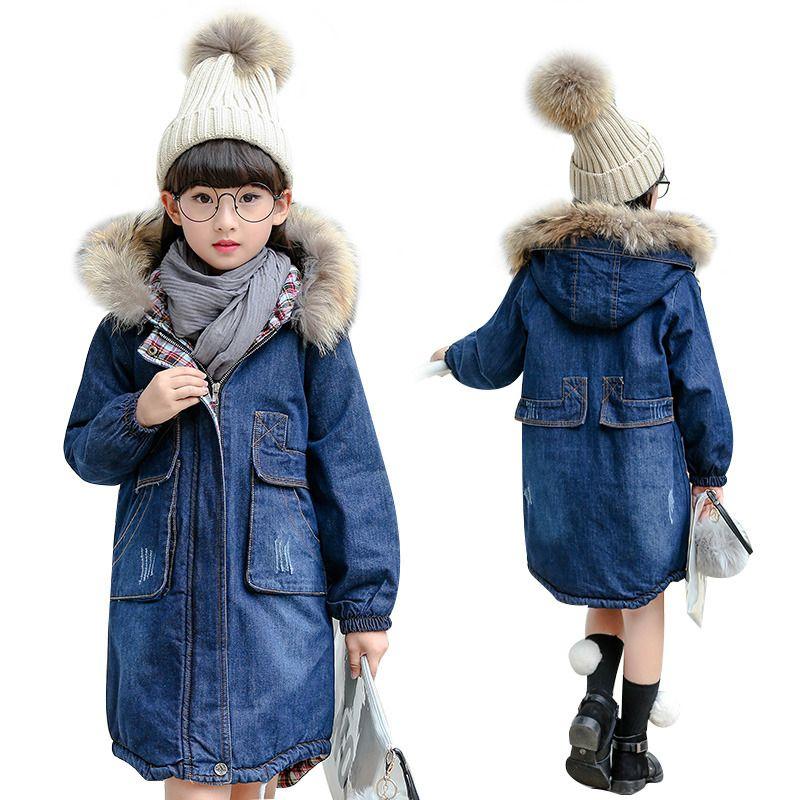 Trendy Big Teens Girls Denim Outerwear Children Winter Hooded Coats Kids Warm Inner Jeans Jacket Girls Thick Long Clothes