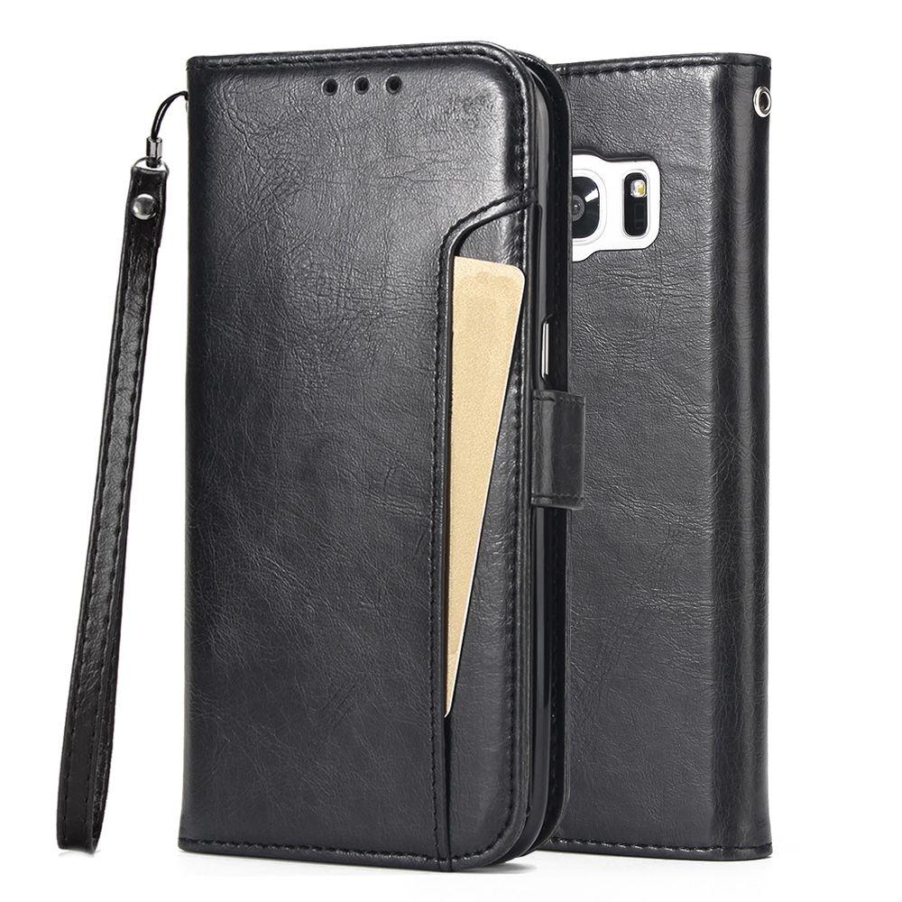 Pour Samsung Galaxy S7/S7 Bord Cas, WEFOR PU En Cuir Flip Béquille Portefeuille avec des Fentes de Cartes pour Galaxy S7