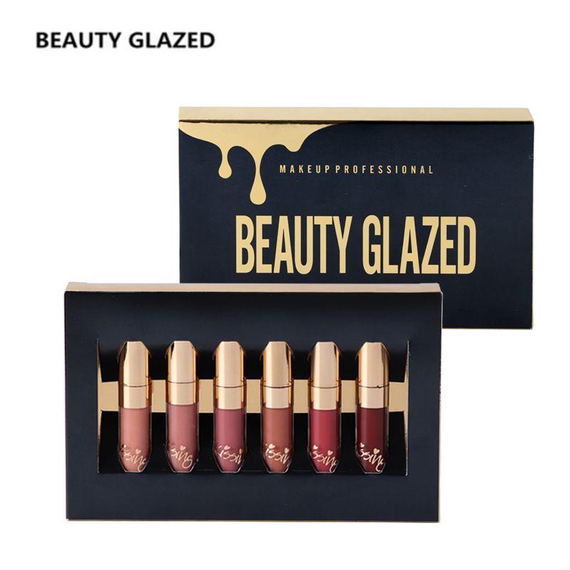 BEAUTY GLAZED Brand Matte Lip Gloss  Easy To Wear Long-lasting Lip Gloss Waterproof Lip Cometics 6 Colors In 1 Set