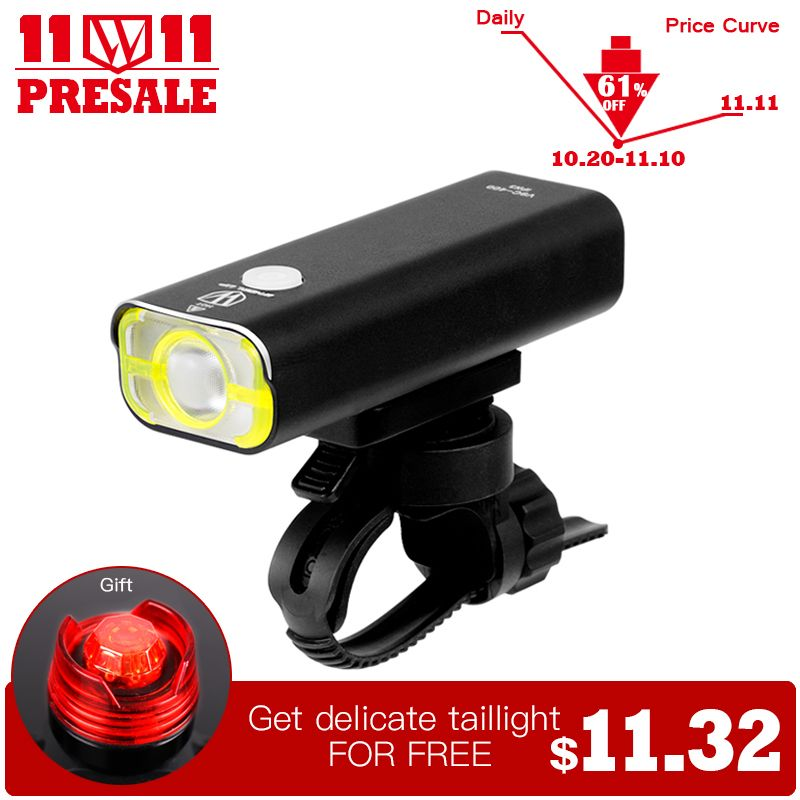 WHEEL UP Usb Rechargeable Bike Light <font><b>Front</b></font> Handlebar Cycling Led Light Battery Flashlight Torch Headlight Bicycle Accessories