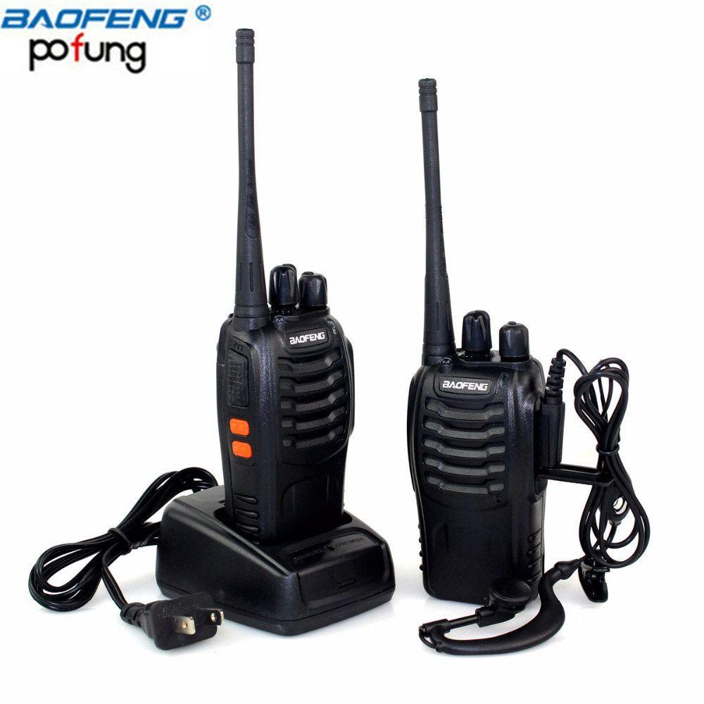 2Pcs Baofeng BF-888S Mini Walkie Talkie Portable Radio CB radio set BF888s UHF 888S Comunicador Transmitter Transceiver+2Headset