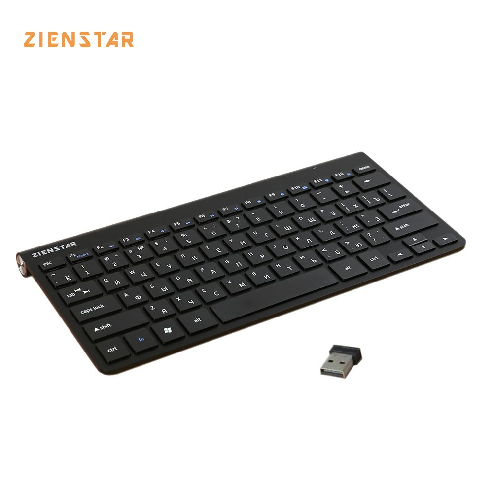 Zienstar Russian english  letter  Slim 2.4G Wireless Keyboard for MACBOOK,LAPTOP,TV BOX, Computer PC ,Smart TV with USB receiver