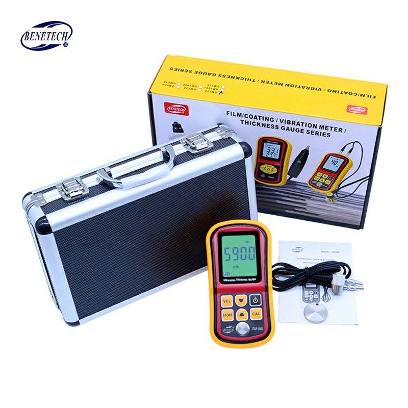 Digital Ultrasonic Thickness Gauge tester GM100 1.2 to 200MM Sound Velocity Meter with aluminium retail box