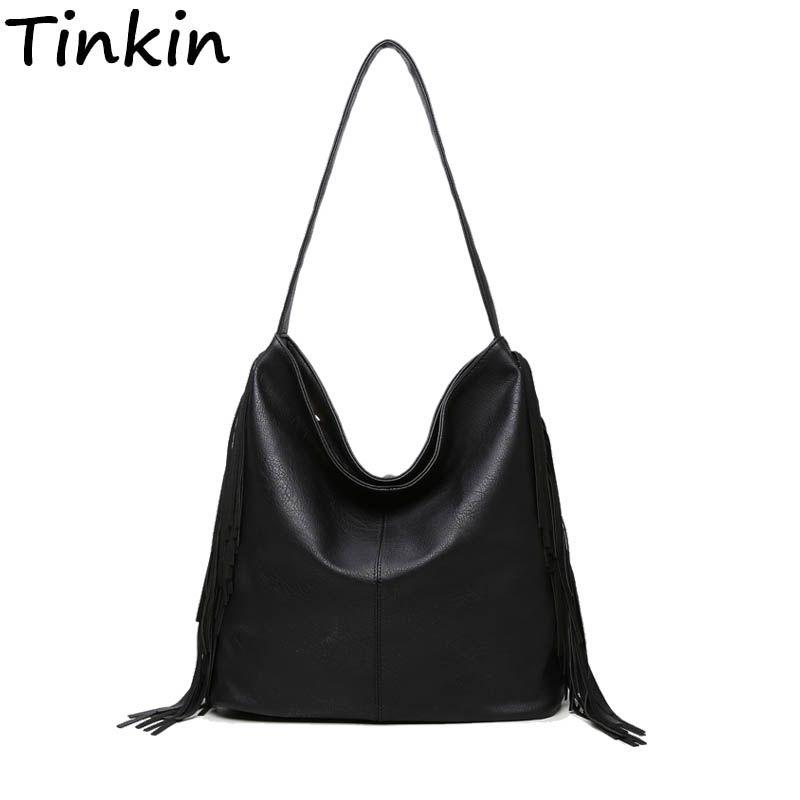 Tinkin большой Вместительные сумки сумка с кисточкой Винтаж Для женщин сумка Повседневное ежедневно сумка Мода Tote универсальные