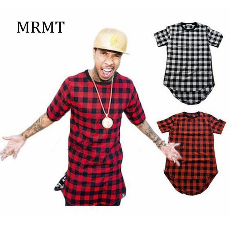 2019 nouveaux vêtements hommes Plaid T-Shirts Hip Hop T-Shirt Zipper hommes T-Shirts Streetwear homme T-Shirt pour Malel