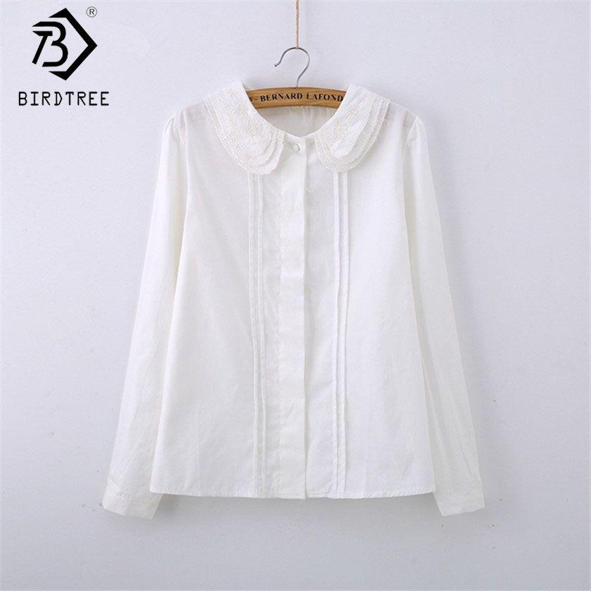 Mode femme coton blanc Blouses col claudine décontracté dames hauts école travail Blouse femmes grande taille S-XXL T58348