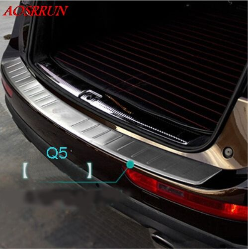 Stainless Steel Outer Rear Bumper Protector Sill Threshold Pad Pedal Tread Plate for Audi Q5 2013-2016 accessories car styling