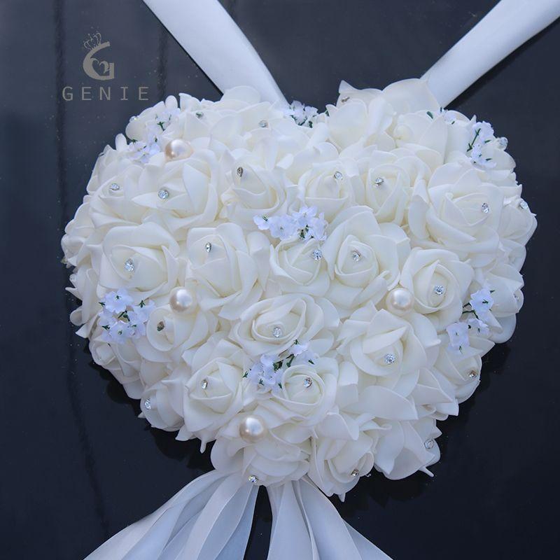 Genie Heart shaped Garland Wedding Car Decoration Artificial Foam Rose Pearls Handle Mirror Door Decor DIY Wreath Fake Flowers
