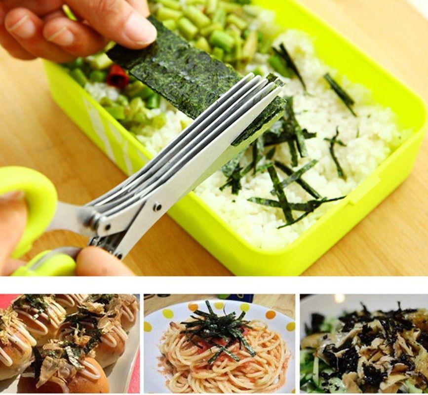 Ciseaux de cuisine 5 multicouches en acier inoxydable pour couper les sushis d'oignon vert râpé écailles coupées herbes de cuisson épices