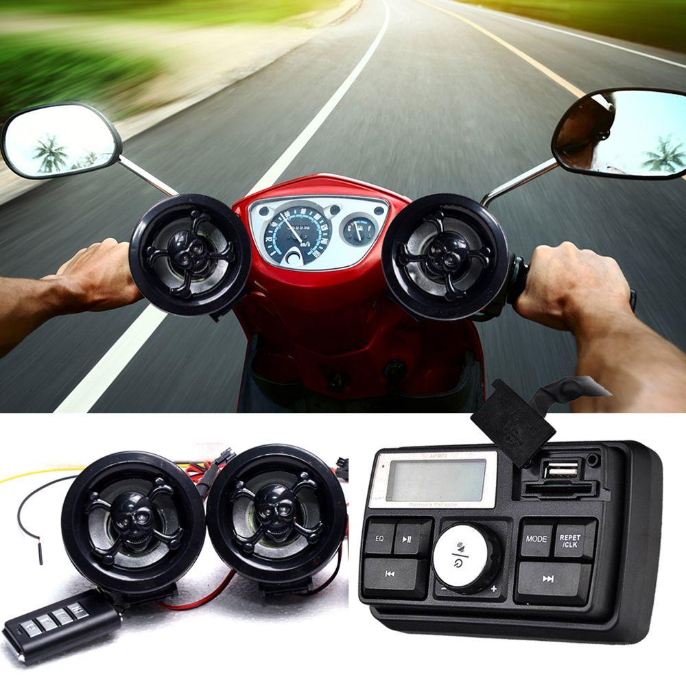 Universal Motorbike Motorcycle Handlebar Audio System FM Radio Stereo Amplifier Speaker MP3 Audio System Anti-theft Alarm