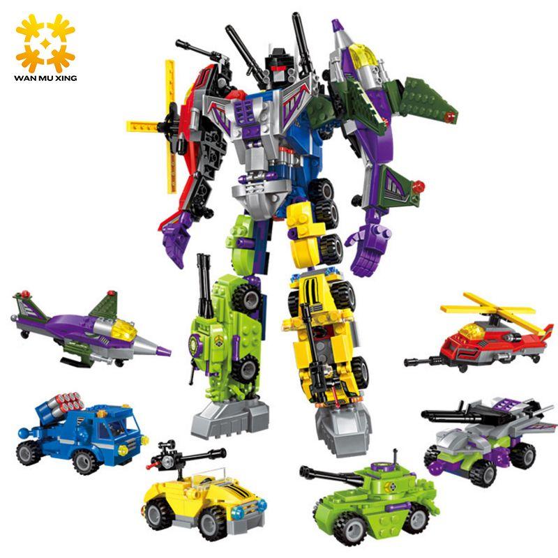 WMX 1404 6 en 1 Super Hero Robot Destroyer Blocs de Construction Briques Ensembles Voiture Avion Chiffres Cadeau De Noël pour Enfants