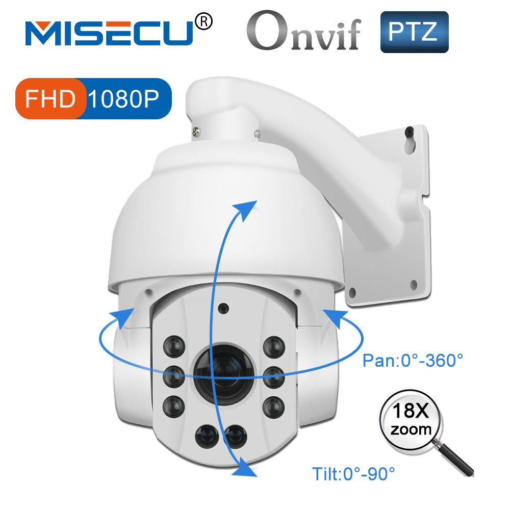 MISECU PTZ IP Camera Zoom Outdoor 108P Pan Tilt 18x Optical Motorized Len Speed Dome Night vision P2P Network Onvif Waterproof