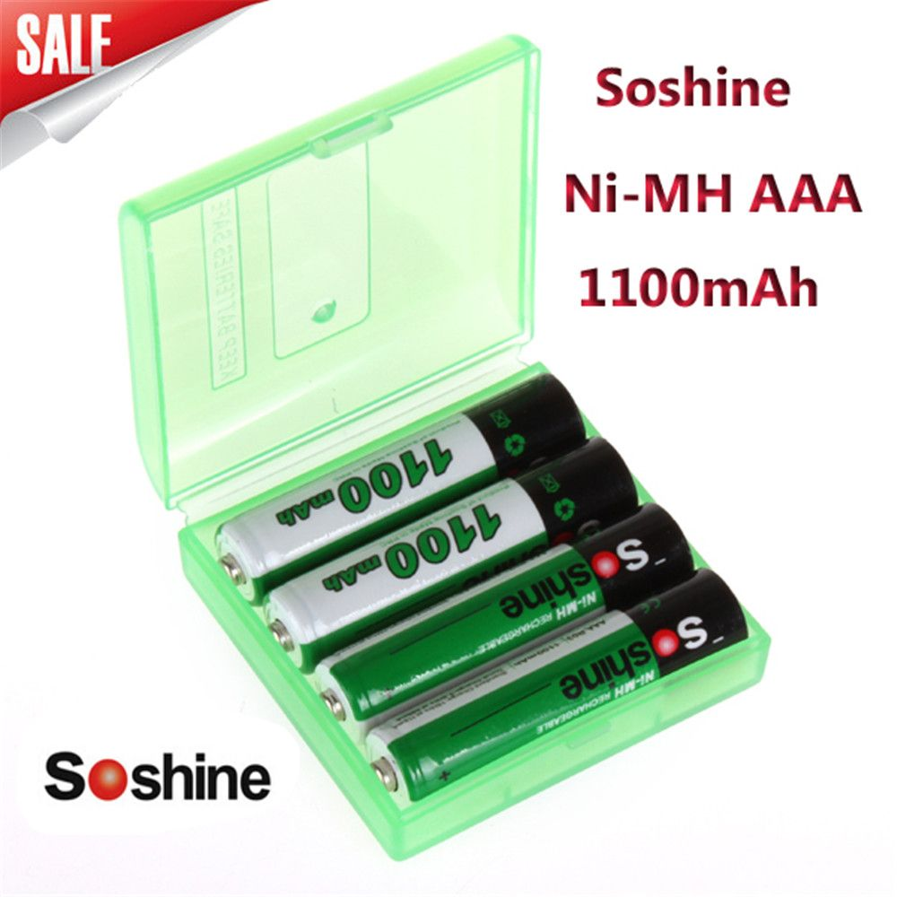 4 pcs/pack Soshine Ni-MH AAA Batterie 1100 mAh Batteries Rechargeable Batterie + Portable Batterie Boîte