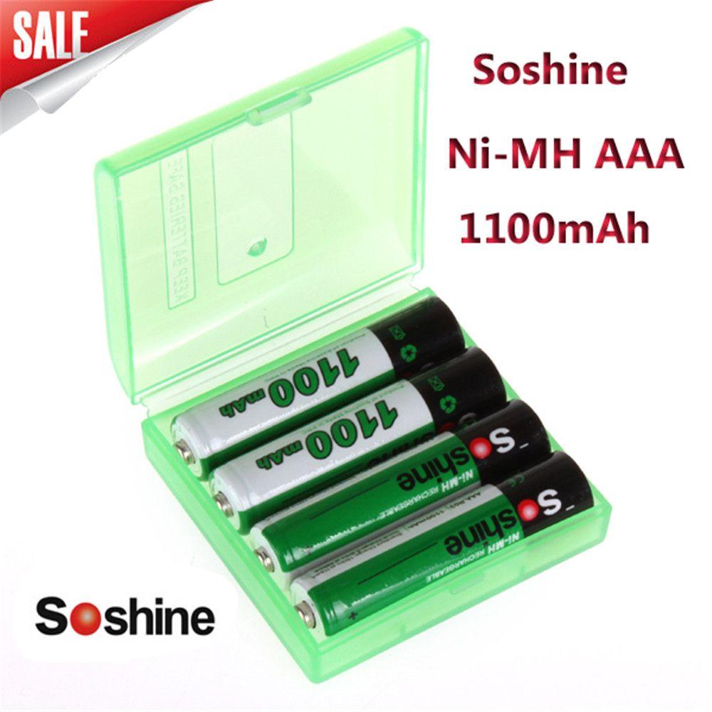 4 pcs/pack Soshine Ni-MH AAA Batterie 1100 mah 3A Batteries Rechargeable Bateria + Portable Batterie De Stockage Holder Box Case