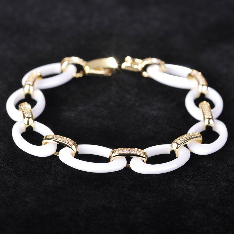 Madrry Blanc Noir En Céramique Ovale Bracelets Pour Les Femmes Man Party De Mariage Poignet Accessoires Grappes Poli Pierre Gioielli