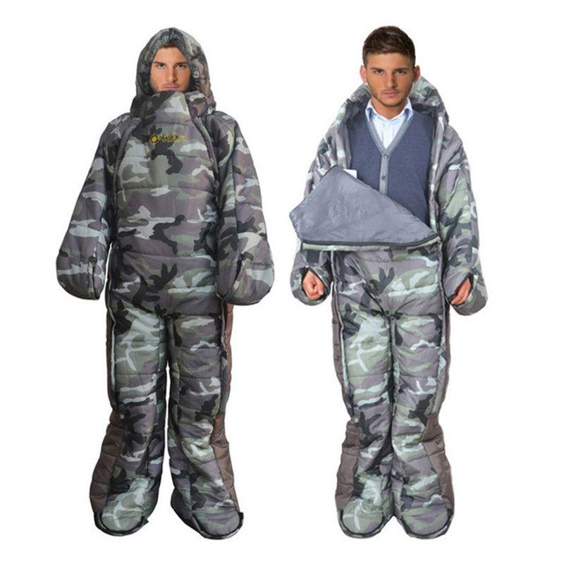 Komfortable Tragbare schlafsack outdoor camping faul tasche Militärcamo schlafsack 128