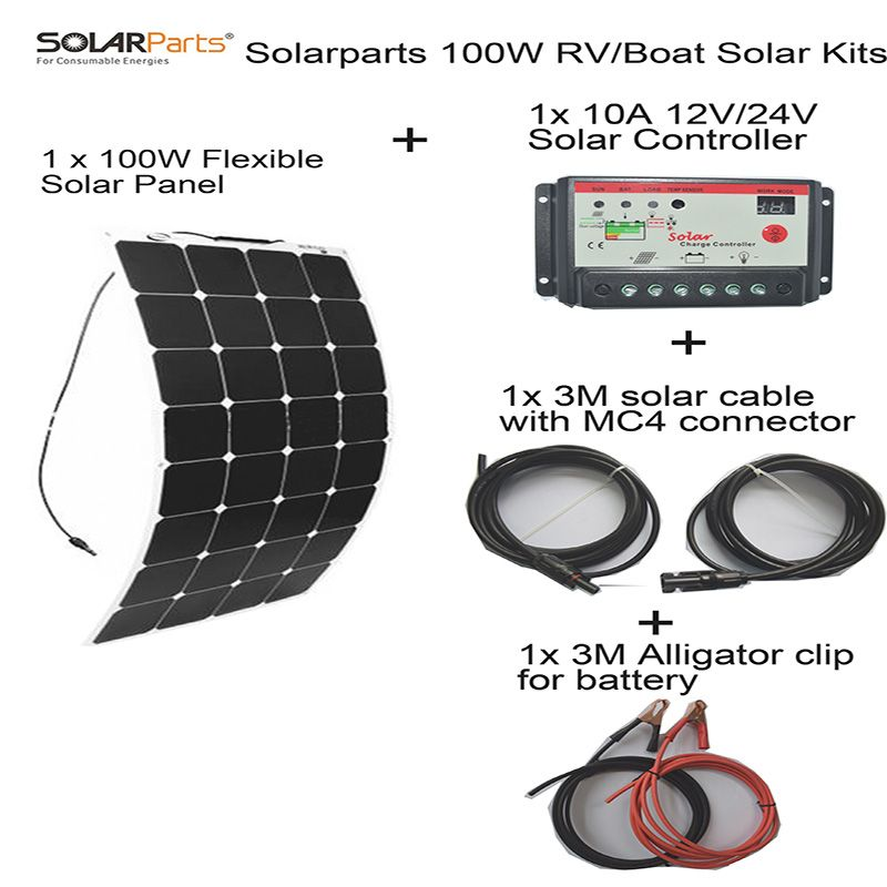 BOGUANG 100W DIY Boat Kits Solar cells System 100W PV flexible solar panel 10A solar controller 3M MC4 cable clip energy panels