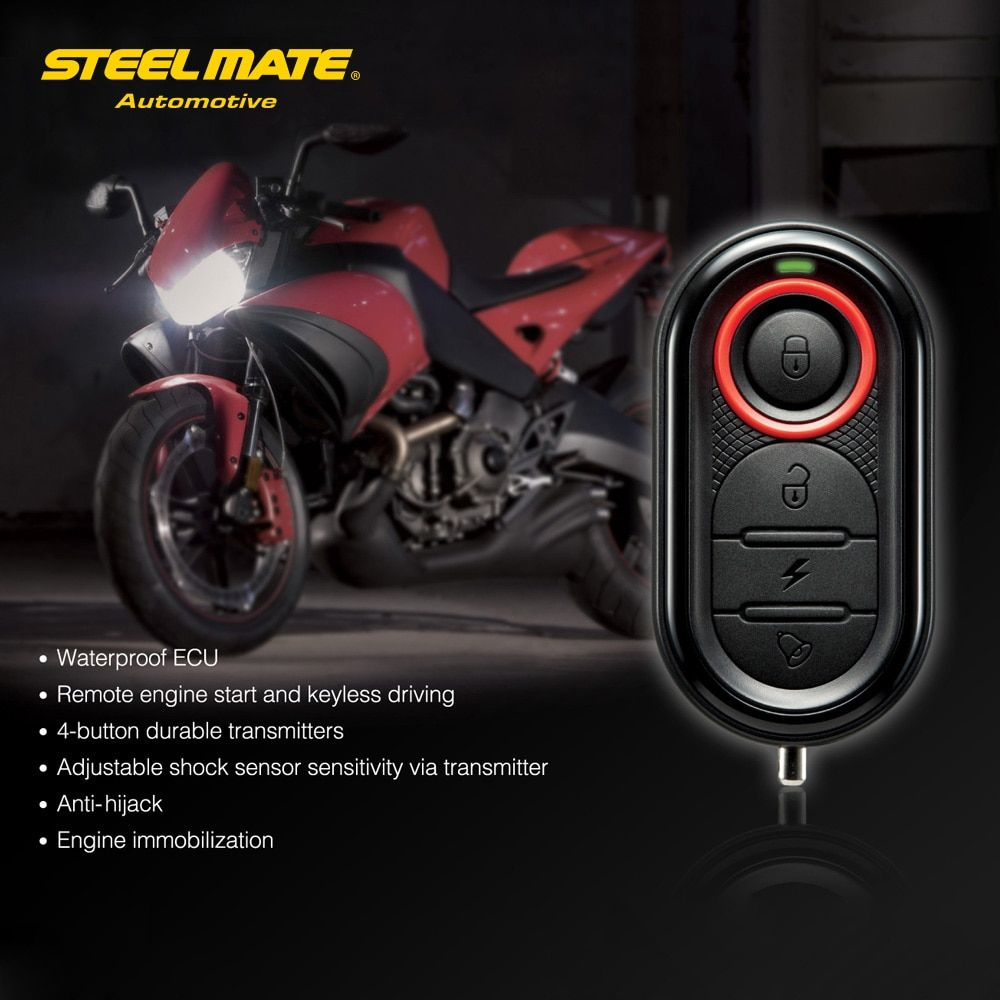 Steelmate 986E 1 Way Motorcycle Anti-Theft Security Alarm System Remote Engine Start And Immobilization with Mini Transmitter