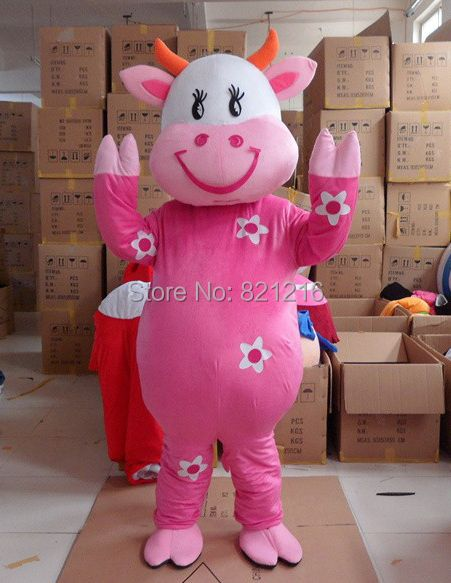 New Arrival Cartoon Character Adult cute lovely cow Mascot Costume Fancy Dress Halloween Party Costume