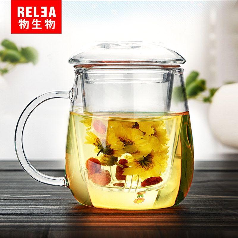 Tasse en verre clair tasse à café en verre tasse à thé tasse à jus de lait avec maille passoire à thé infuseur avec théière filtrante tasses en verre résistant à la chaleur