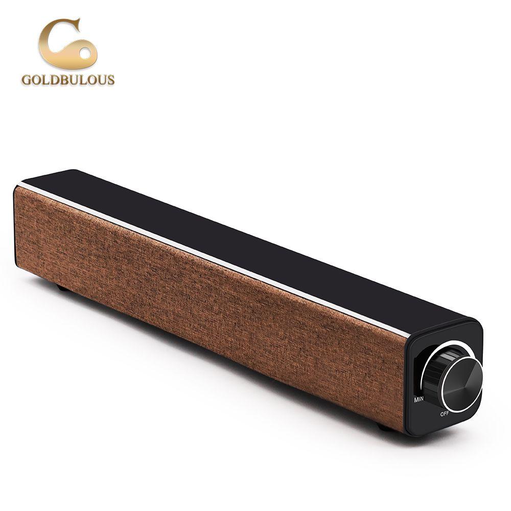 Goldbulous Soundbar Wireless Bluetooth Speaker 20W HiFi Bass Stereo Sound Audio with Mic Support AUX MP3 for TV PC Phone
