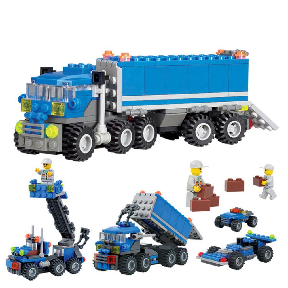 163 pièces blocs de construction en plastique voiture modèle jouets pour enfants Dumper camion bricolage Intelligent bébé garçon jouet voitures