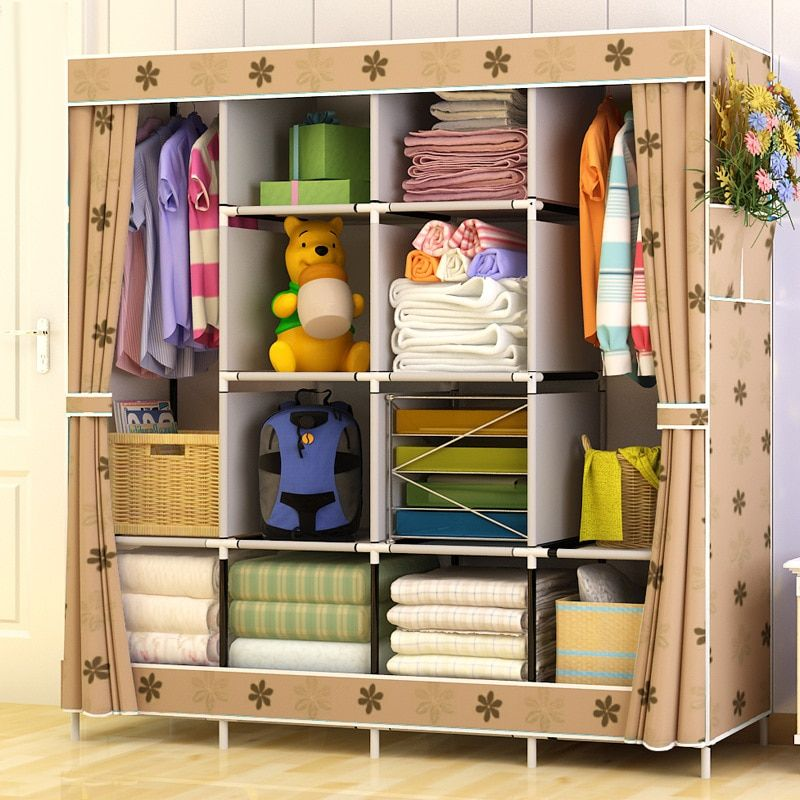 Simple Style Wardrobe Non-woven Fabric Folding Cloth Ward Storage Assembly Closet Large Size Reinforcement Combination Wardrobe