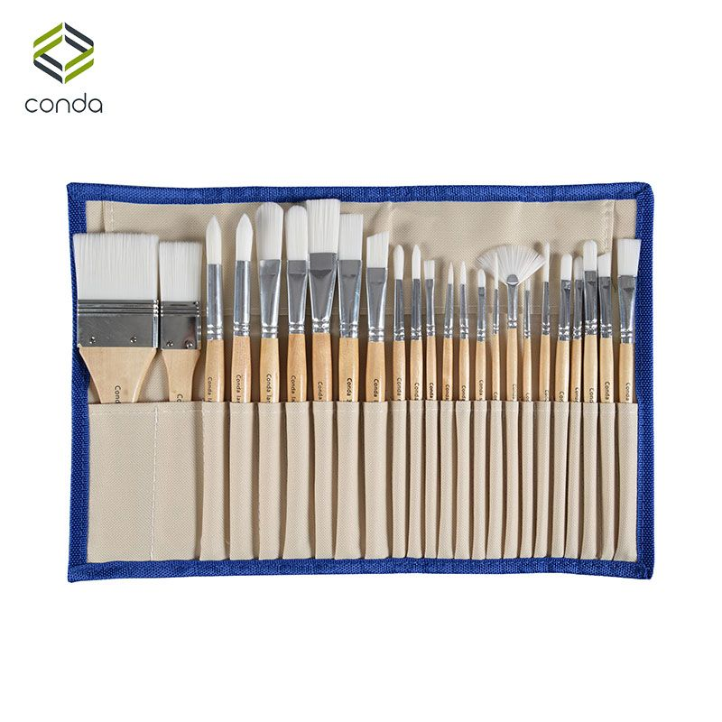 Conda 24 Pcs <font><b>Chip</b></font> Paint Brushes Set Professional Synthetic Short Handle w/ Brush Case Art Supplies Watercolor Oil Paint Brush