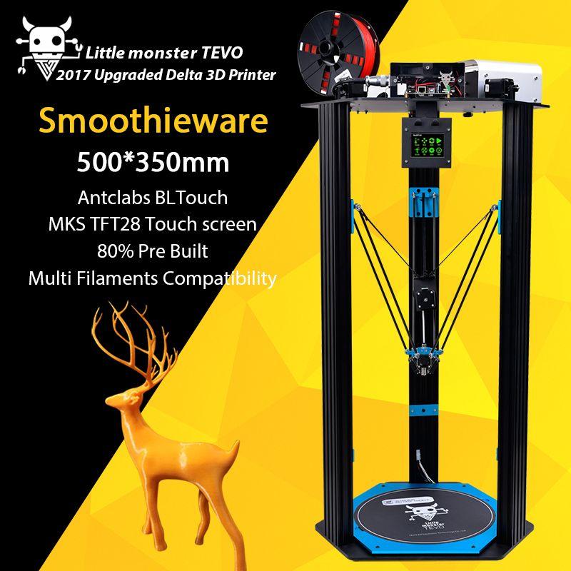 2017 TEVO Petit Monstre Delta 3D Imprimante TEVO Deltal Grand lit OpenBuilds D'extrusion/Smoothieware/MKS TFT28/Bltouch 3D Imprimante