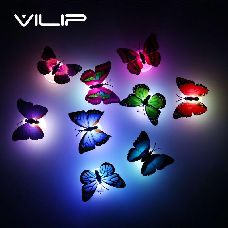 10 teile/los Neue ankunft Schöne Schmetterling Led-nachtlicht Lampe mit saugnapf für Weihnachten Hochzeit Dekoration Nachtlampe S