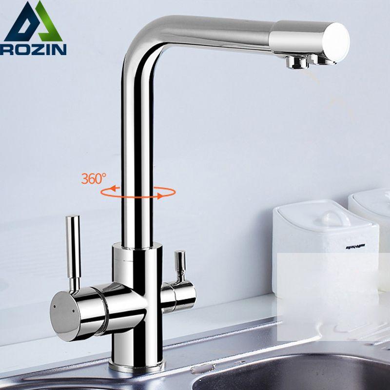 Хром Латунь очищенной водой Outlet Кухня смесителя Кухня кран чистой воды фильтр бортике Двойной Ручки