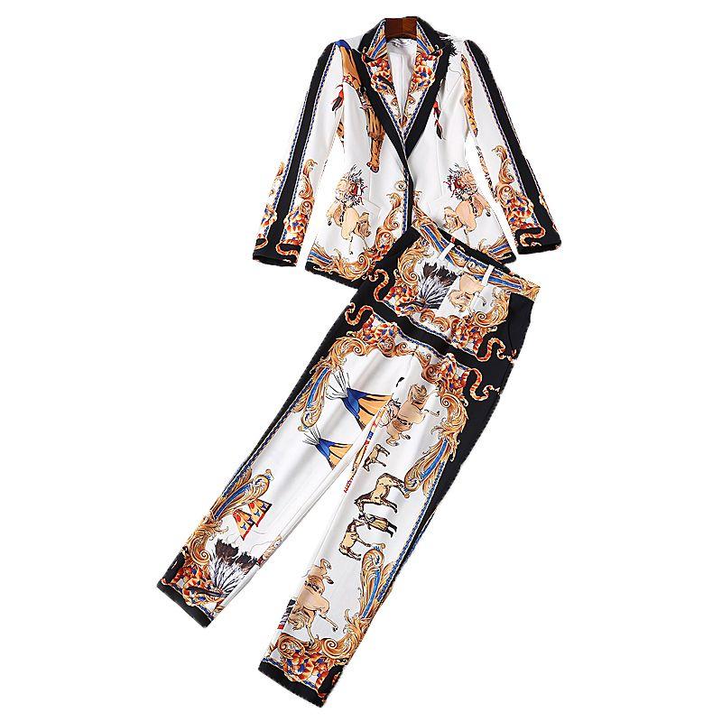 XF 2018 High Quality Autumn Fashion Designer Runway Set Suit Two Piece Women'S Long Sleeve Jacket + Printed Pants Sets Suit