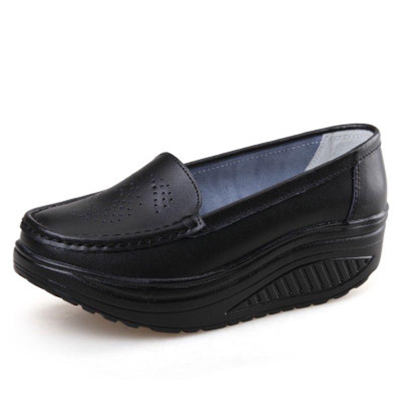 ZHENZHOU printemps en cuir véritable semelle souple chaussures de travail femme noir swing chaussures femme grande taille cales unique femme chaussures