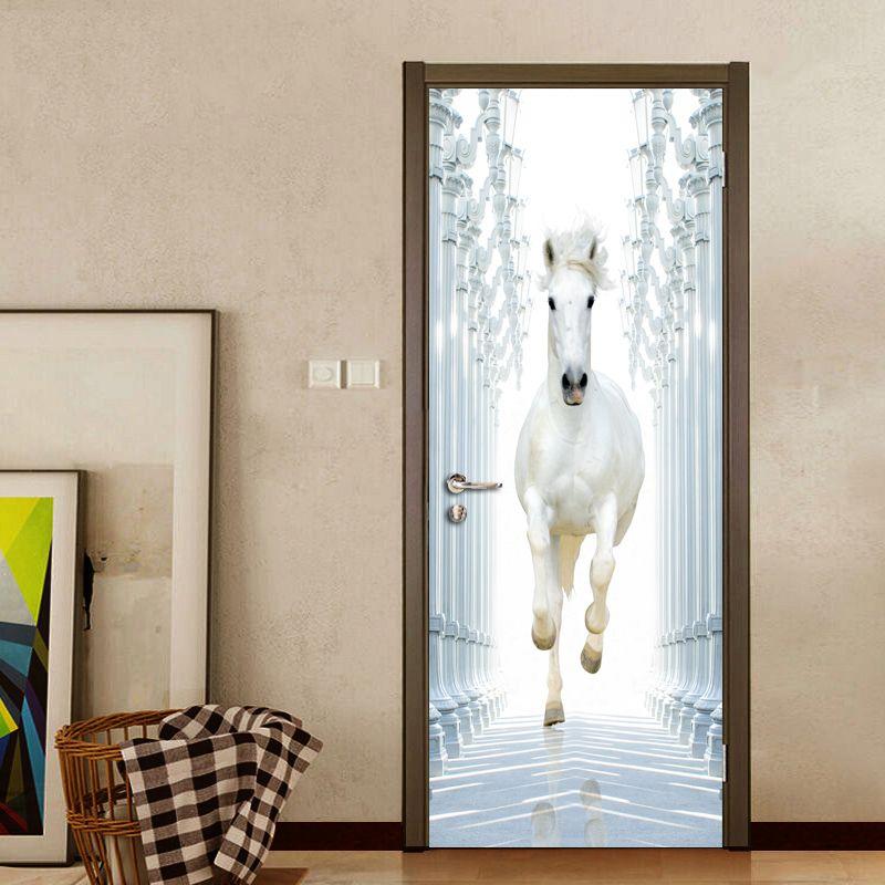 Römischen Spalte Weiß Pferd 3D DIY Tür Wand Aufkleber Wohnkultur Moderne Studie Zimmer Schlafzimmer Tür Wandbild Vinyl Tapete Aufkleber PVC