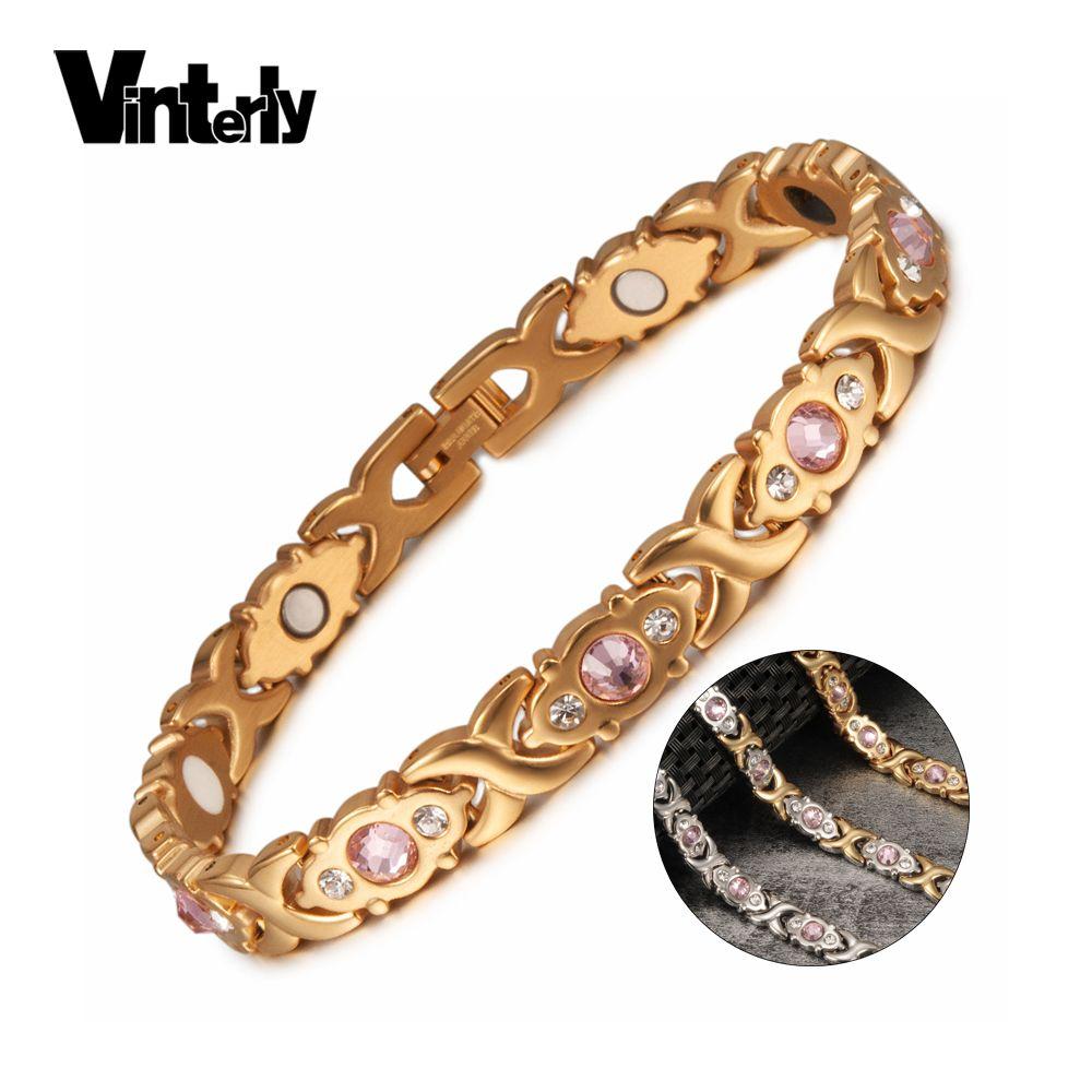 Vinterly Magnetic Bracelet Women Chain Crystal Gold-color Stainless Steel Bracelet Women Cross Health Energy Bracelets for Women