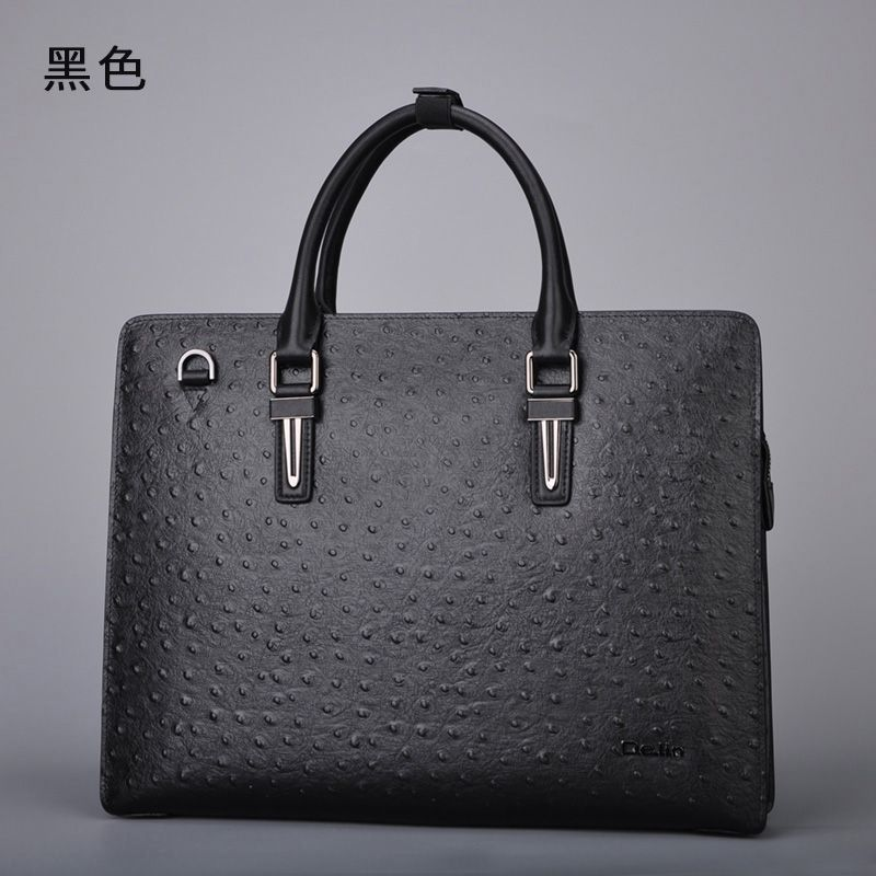 delin 179 Ostrich skin, male leather handbag, single shoulder bag, men's fashion personality, business male leather cross